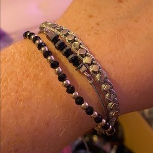 3 layer black and silver bracelet